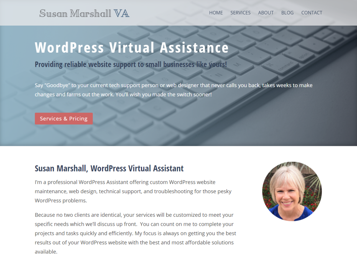 Custom My Design Assistant virtual assistant web design - susan marshall va